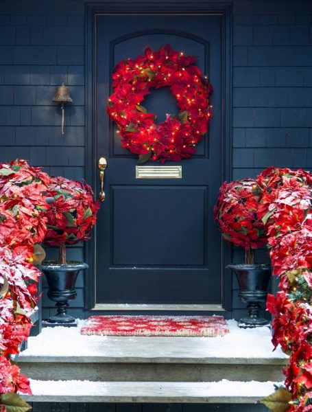Outdoor Pre-lit Poinsettia Wreath and Garland from Balsam Hill