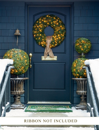 Balsam Hill Outdoor Pre-lit Boxwood Wreath and Garland
