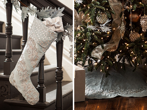 Winter Frost Decorating – French Blue Tree Skirt and French Blue Stocking