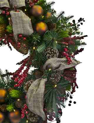 Lodge Plaid Decorated Wreath from Balsam Hill