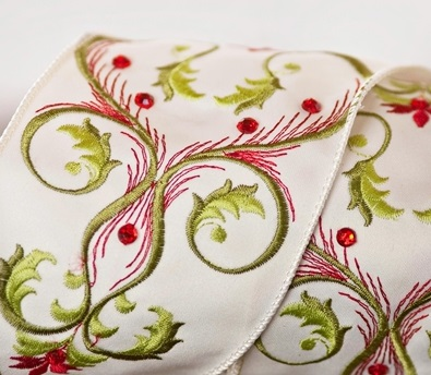 Embroidered Ivory Ribbon with Red Jewels from Balsam Hill