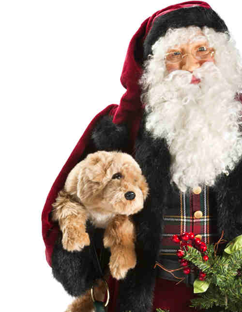 Life-Size Santa with Dog Figure from Balsam Hill