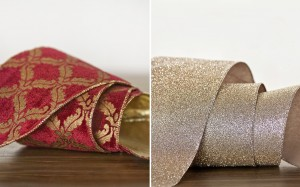 make staircase decorations richer with gold and platinum glitter ribbon