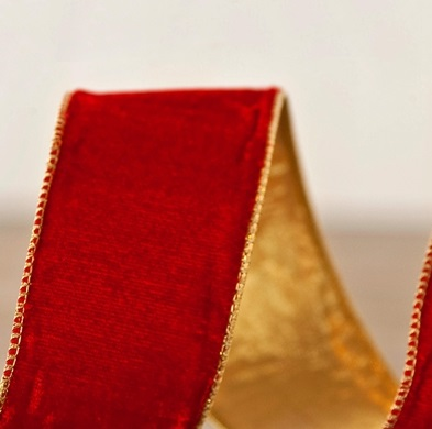 Red Velvet with Gold Edge Christmas Tree Ribbon from Balsam Hill
