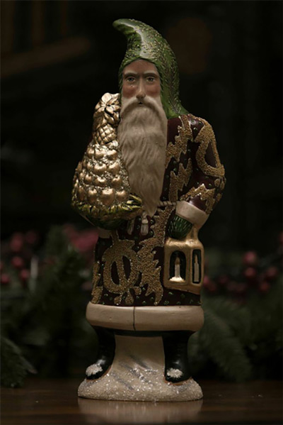 Chalkware Burgundy Santa by Balsam Hill