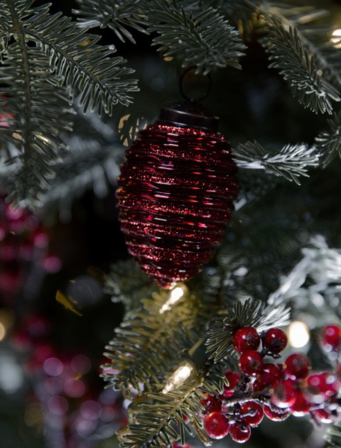 Red Mercury Glass Pine Cone Ornament