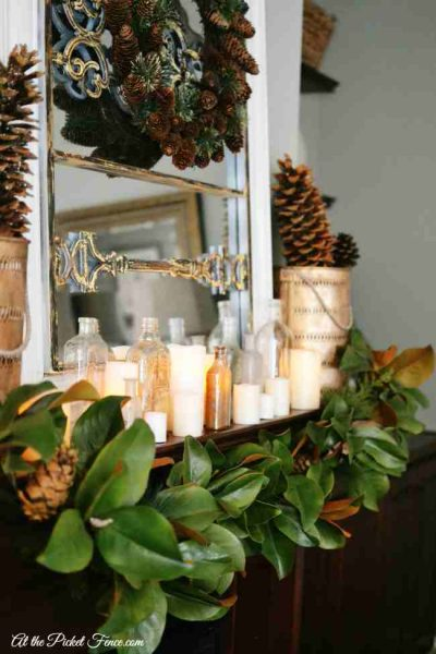 Fireplace mantle with Magnolia leaf garland by Balsam Hill