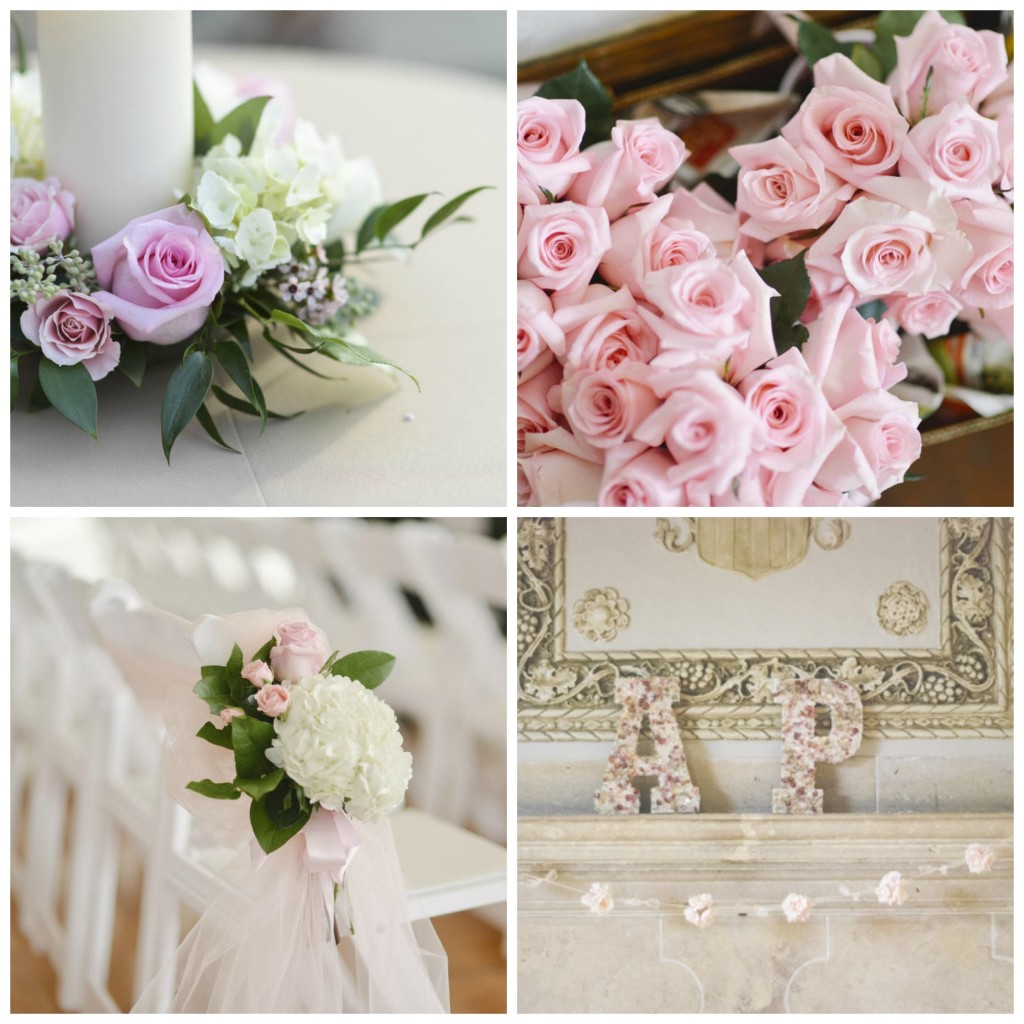 A Christmas wedding with dainty pink roses
