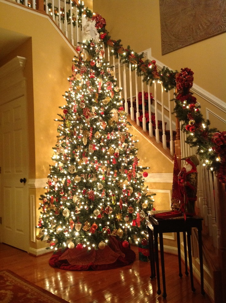 Wonderful Christmas Tree By The Stairs
