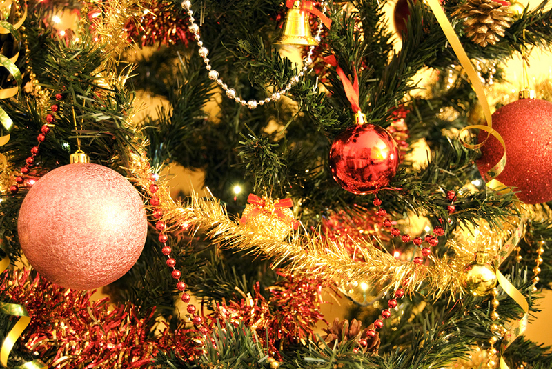Christmas Ornaments on a Christmas Tree