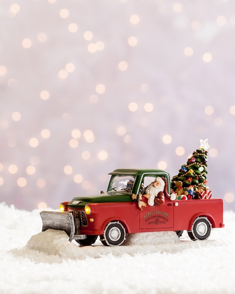 Balsam Hill Musical Santa In Pick Up Truck