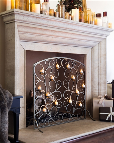 The Tea Light Fireplace Screen adds a charming touch to your hearth