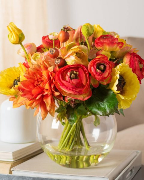 mixed artificial flower arrangement for spring