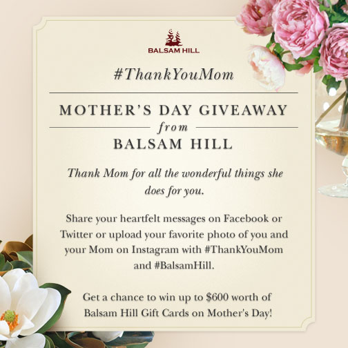Balsam Hill Mother's Day Giveaway Contest 2015