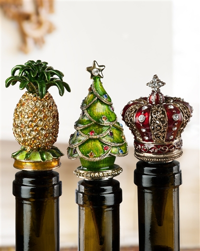 Pineapple, Christmas Tree and Crown Jeweled Wine Stoppers
