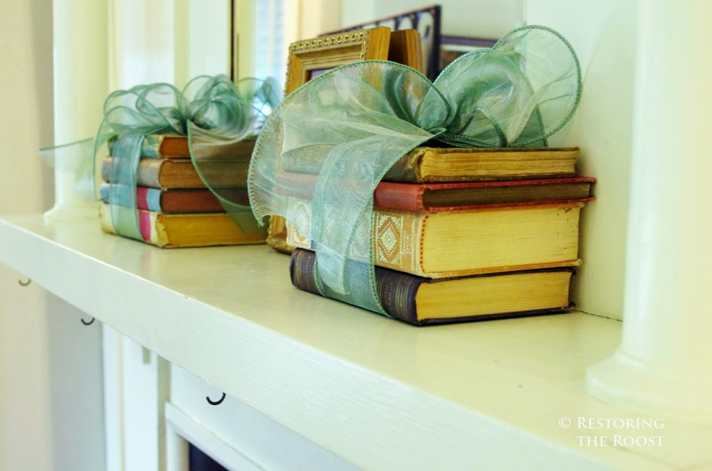 Books wrapped by Blue Dupioni Ribbons by Balsam Hill