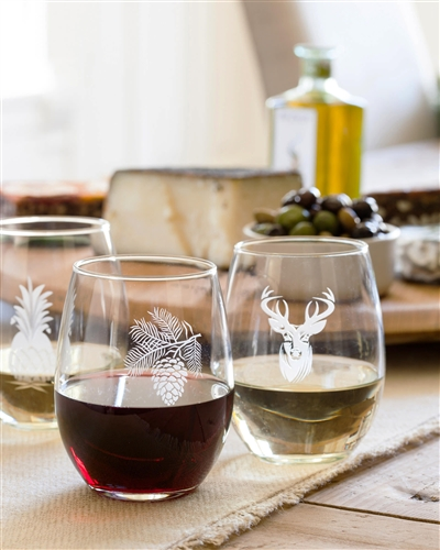Balsam Hill's Stemless Etched Wine Glasses