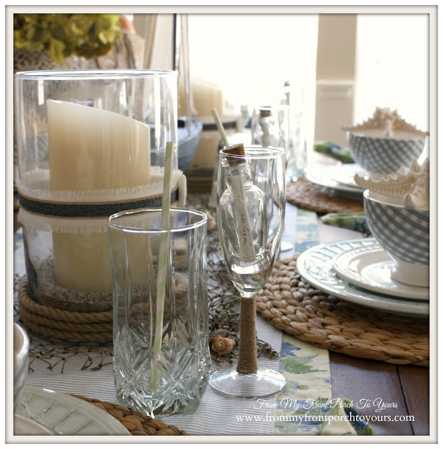 Nautical-themed tablescape by Pamela of From My Front Porch to Yours