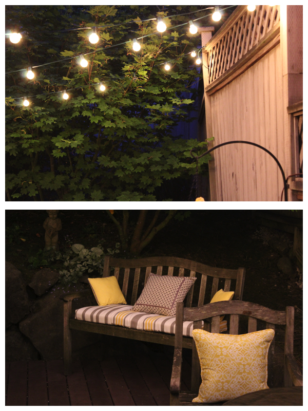 Patio lit by Balsam Hill's Globe Cafe Lights