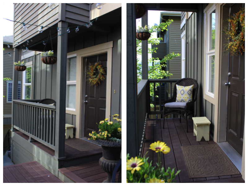 porch decorated with yellow flowers