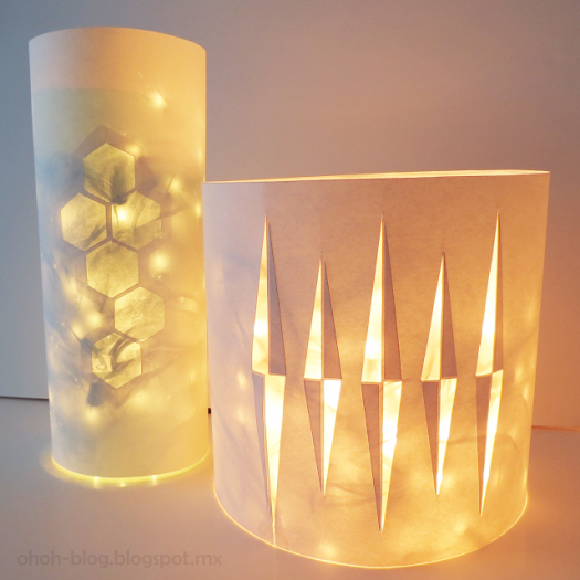 Paper lanterns with geometric patterns