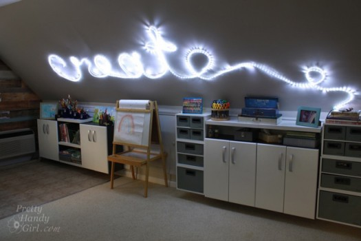 Rope light wall word art