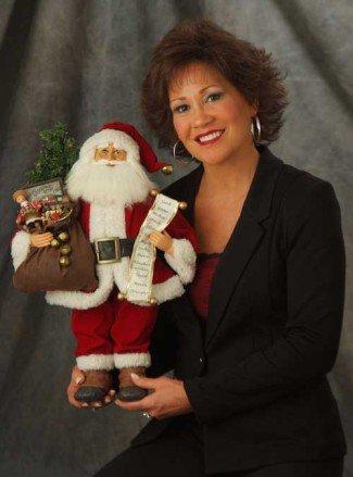 Karen Didion and one of charming vintage Santas
