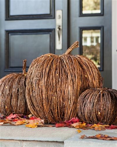 Pre-lit twig pumpkins