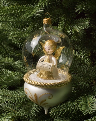 Shimmering and radiant angel glass ornament