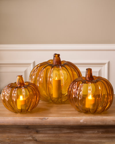 Bask in the warm glow of our Fall Pumpkin Glass Candle Holder