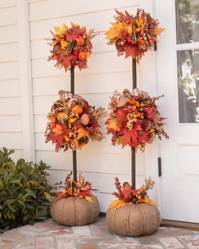 Autumn Acorn Topiaries add height and color to entryways