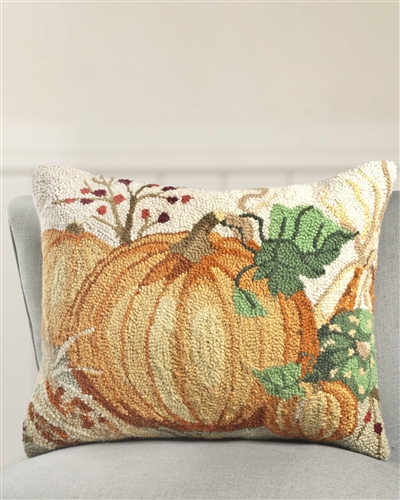 Beautifully embroidered pillow with pumpkin design