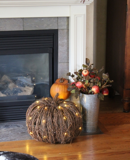 Use a pre-lit pumpkin to add shine and natural elegance to any space.
