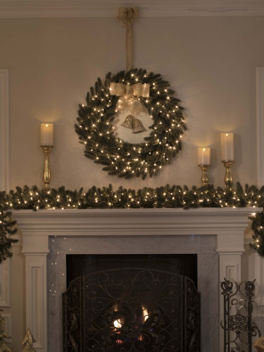 BH Fraser Fir foliage displayed above the mantel