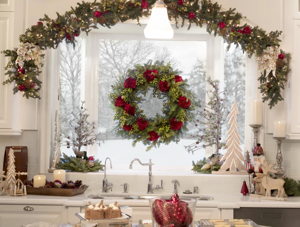 Balsam Hill artificial wreath and garland on kitchen window