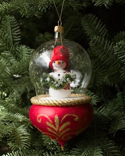 Balsam Hill's De Carlini Snowman Glass Ornament