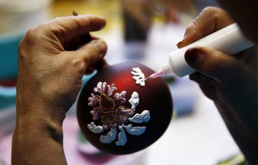 Ornaments are individually embellished by hand