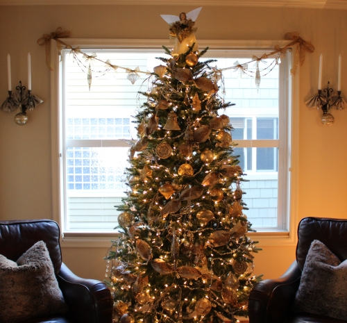 My beautiful tree adorned in silver and gold