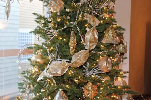 Ribbons are versatile accents for traditional Yuletide foliage