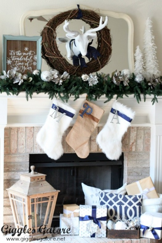 Mariah's holiday mantel is refined and elegant