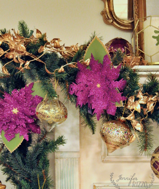 Handcrafted poinsettia accents enhanced the display
