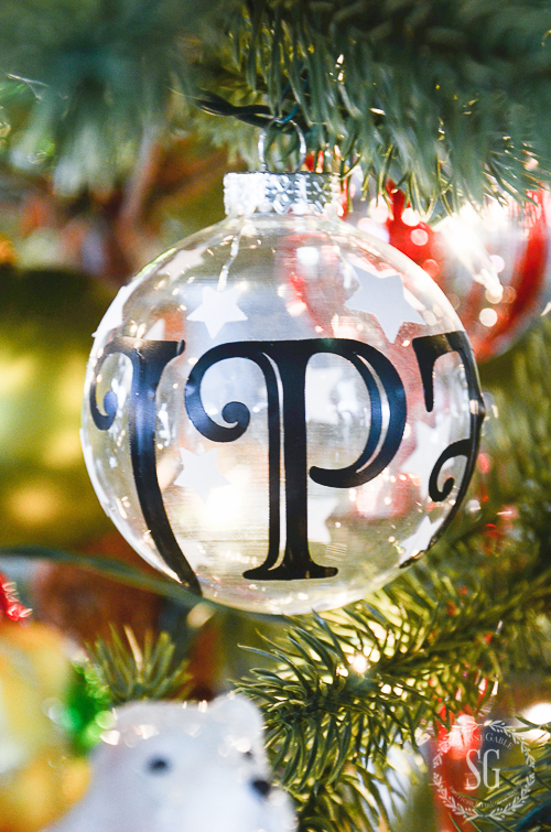 Ornaments are easily customized using Cricut and vinyl appliques