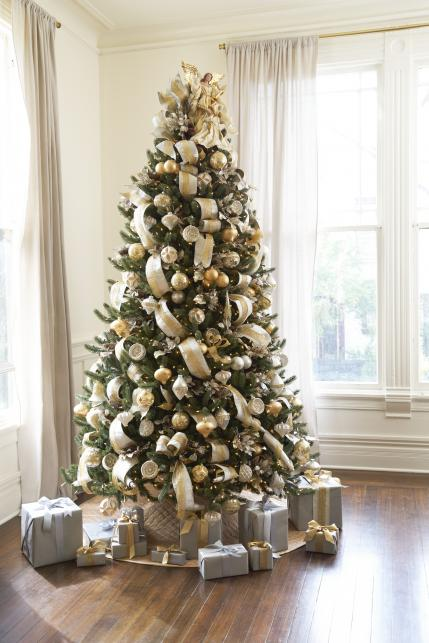 White Christmas Tree With Silver And Gold Decorations