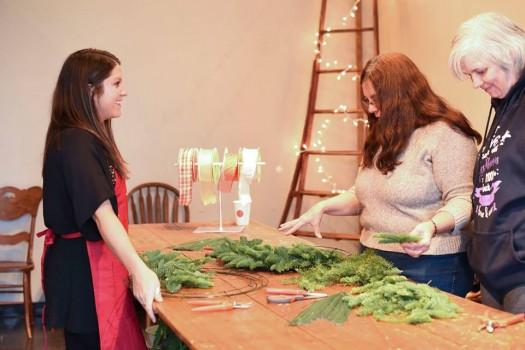 Wreath making workshop in progress
