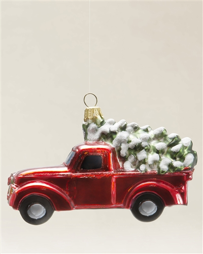 Balsam Hill's Truck with Christmas Tree Blown Glass Ornament by Silverado