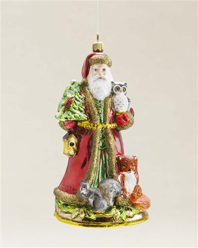 Balsam Hill's Woodland Santa Blown Glass Ornament, by Glassware Art Studio