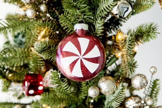 Personalize glass ornaments with vinyl for a special touch