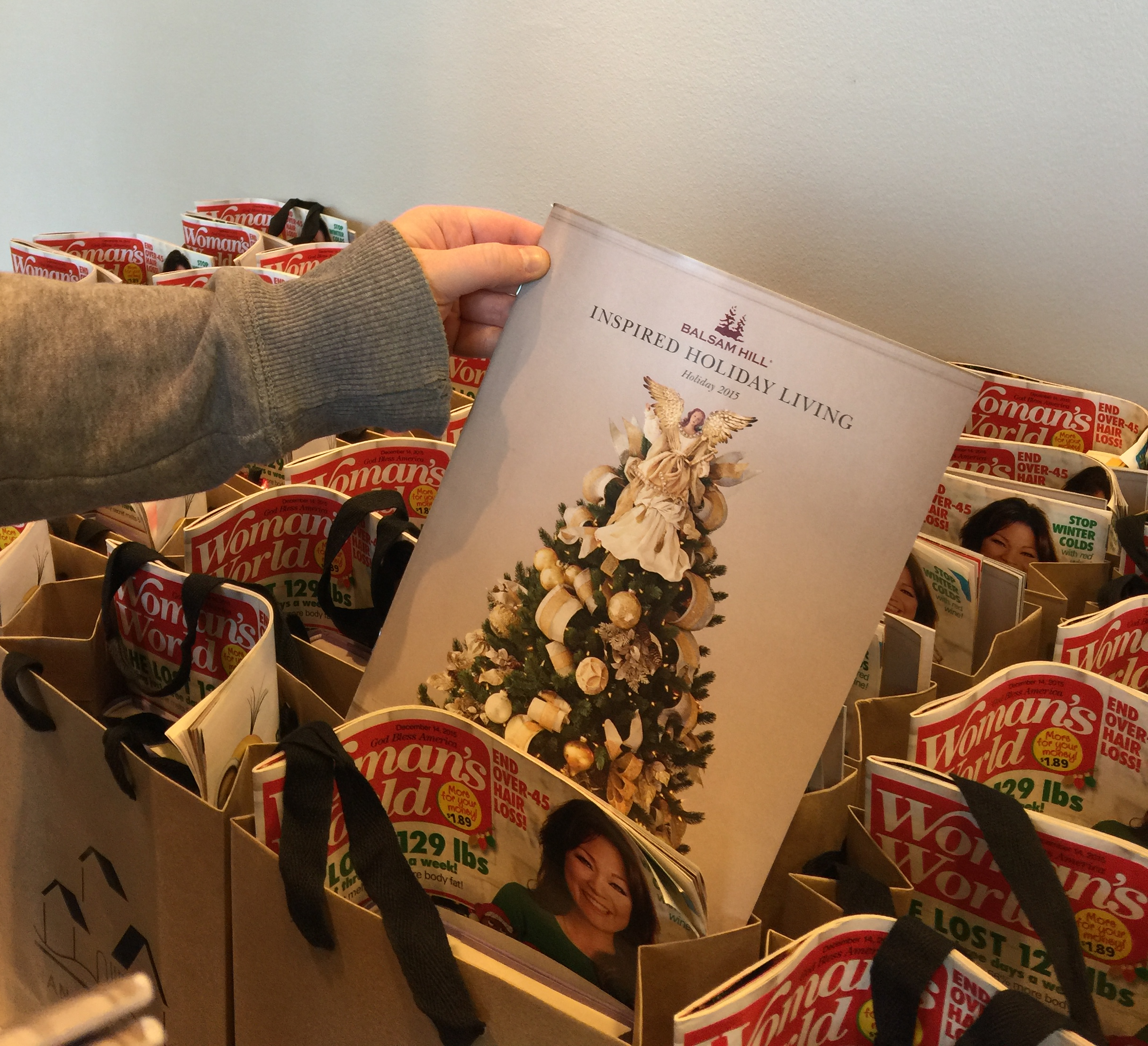 Random House's gift bags, with Balsam Hill's 2015 Holiday Catalogue