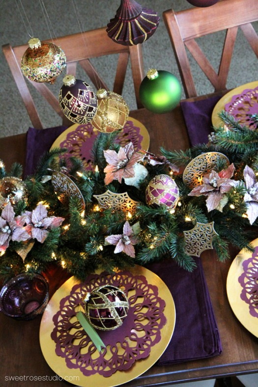 Vibrant and rich colors abound in this Christmas tablescape