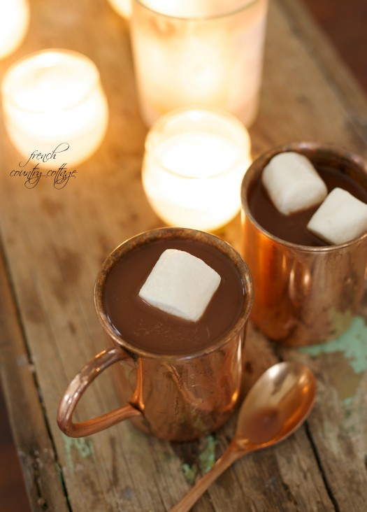 Hot chocolate topped with fluffy marshmallows, in Balsam Hill's Burnished Copper Mugs